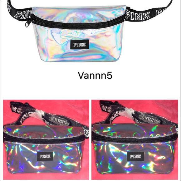 Victoria/'s Secret Sport Black Belt Bag Waist Fanny Pack Iridescent Logo NWT